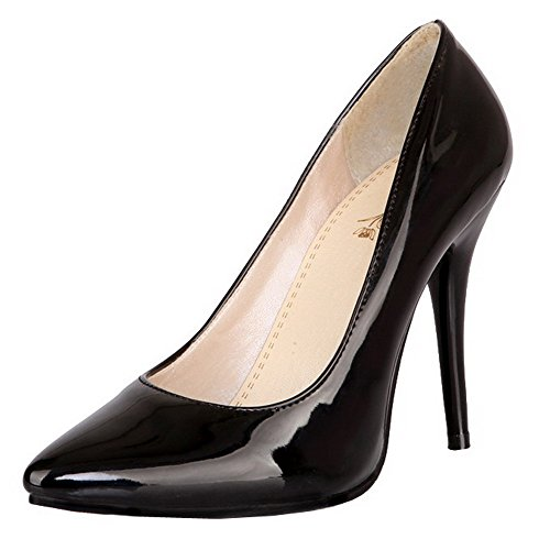 Damen Lackleder Odomolor On Pull Schuhe Schwarz High Heels Pumps 4xxw7qa