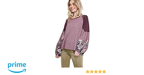 84238631d6709f umgee USA Women's Floral Print Sleeve Waffle Knit Top at Amazon Women's  Clothing store: