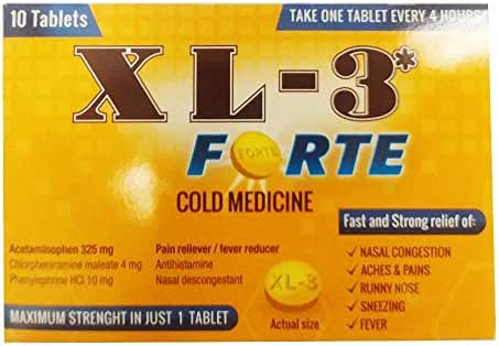 (Pack of 24, 240 Ct) Cold Medicine Tablets XL3 Forte, 10ct