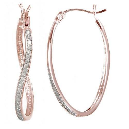 Vir Jewels 1/4 cttw Diamond Hoop Earrings Rose Gold Plated over .925 Silver