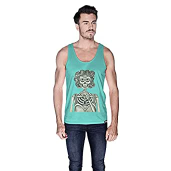 Creo Miss Coco Skull Tank Top For Men - L, Green