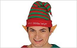 Sombrero de duende a rayas ayudar a Santa Claus