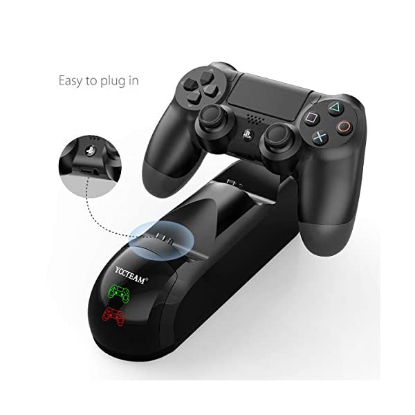 PS4 Controller Charger, WeiCheng Playstation 4 Controller Charging Station Gamepad Charger Stand Dock for Sony Playstation 4/PS4/ Slim/ PS4 Pro Accessories with Thumb Grips, LED Indicators, Black 5