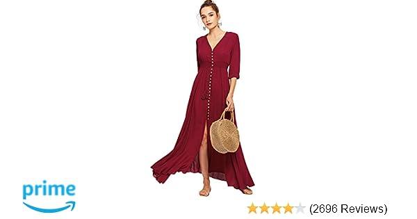 9fc99478366 Milumia Women s Button Up Split Floral Print Flowy Party Maxi Dress at  Amazon Women s Clothing store