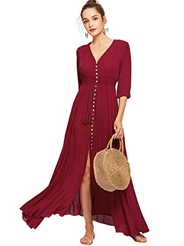 - Milumia Women's Button Up Split Floral Print Flowy Party Maxi Dress Medium Burgundy