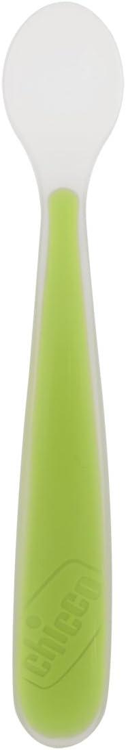color verde Cuchara flexible de silicona Chicco a partir de 6 meses