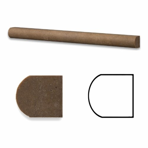 Noce Travertine Honed 3/4 X 12 Bullnose Liner Trim Molding - Box of 5 pcs.