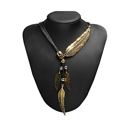 Bronze Womens Necklace (Anhoney Women's Bronze Rope Chain Feather Pendant Choker Bib Necklace Bohemian Style Necklace)