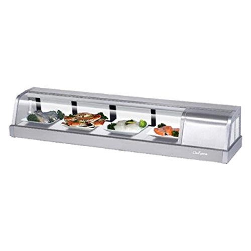 Sakura Refrigerated Sushi Case, 5' Long, Compressor Located On The Right From The Customer Side View, Self-contained, Top Glass Angles Down, 304 Stainless Steel Exterior