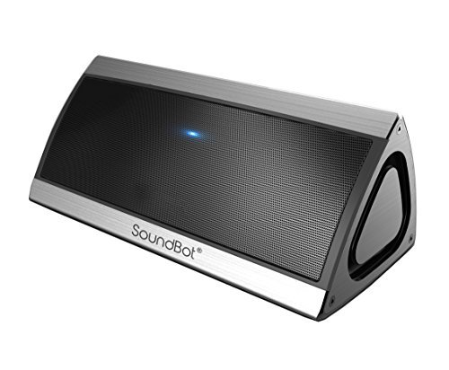 SoundBot SB520 3D HD Bluetooth 4.0 Wireless Speaker for 15 Hours Music Streaming & Hands-Free Calling with Passive Sub Woofer, Built-in Mic, 3.5mm Audio Port (Silver)