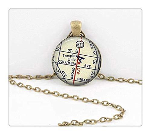 Sunshine Temple University Philadelphia ,New Grad Alumni Gift, Vintage Map Pendant Necklace ,Dome Glass Ornaments, Gifts for her