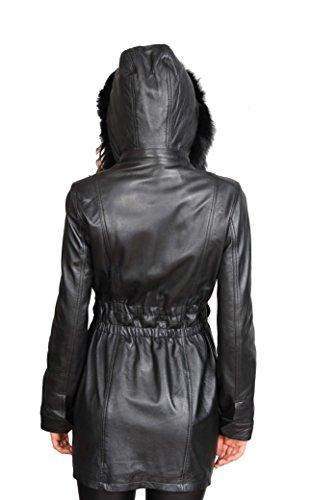 Veste Amovible Duffle Long À De 4 Parka Femmes Mila Capuchon Manteau Noir 3 Cuir Ajusté En Oxqd70nF
