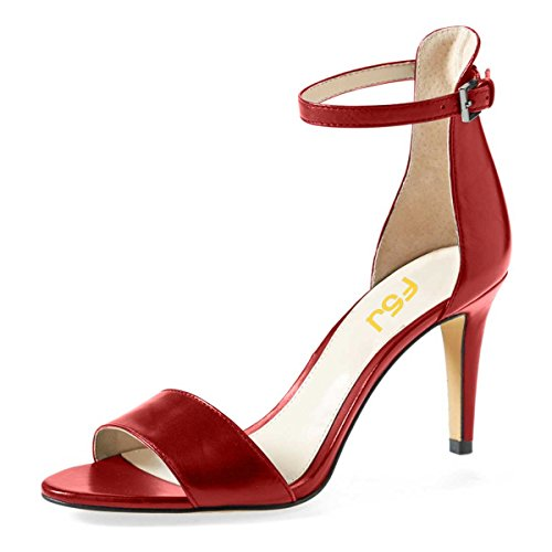 FSJ Women Comfy Open Toe Summer Sandals Ankle Strap Kitten Mid Heels Shoes Patent Leather Size 9.5 Wine (Patent 3' Heel)