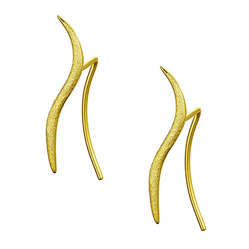(Minimalist Wave Cuff Wrap Crawler Earrings for Women Girls S925 Sterling Silver Threader Leaf Climber S Shape Cute Pin Studs Simple Hoops Piercing Ear Hypoallergenic Jewelry Fashion Gifts(Gold Plated))