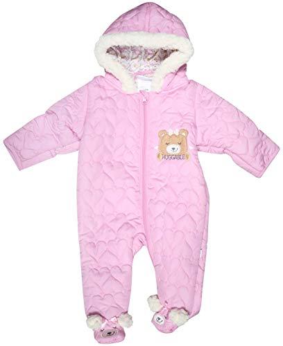 Duck Duck Goose Newborn Baby Boys & Girls Quilted Pram Snowsuit (3-6 Months, Light Pink Bear)'
