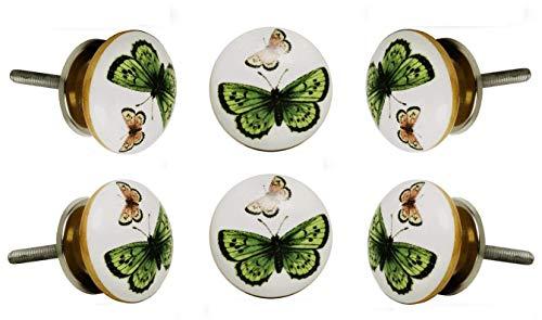 Trinca Ferro Set of 6 Ceramic Green and Pink Butterfly Cabinet Drawer Knob Cupboard Dresser Pull