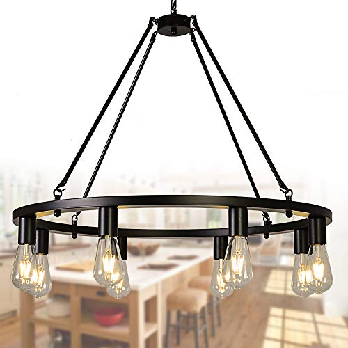 OSAIRUOS Farmhouse Rustic Chandelier Antique Retro Industrial Wagon Wheel Ceiling Pendant Light Downlight Chandeliers Lighting Fixture 8-Lights for Kitchen Island Living Room W30'', Painted Black