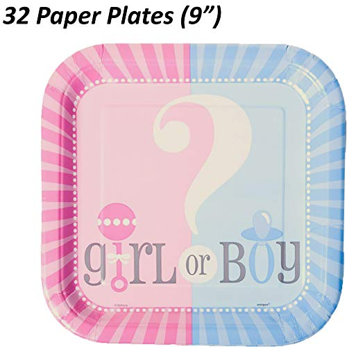"""Gender Reveal Plates, Cups, Napkins - Serves 32-9"""" Square Paper Plates, Luncheon Napkins, 18 oz Plastic Cups (16 Pink, 16 Blue) - Baby Shower Party Supplies Value Pack"""
