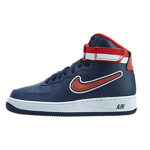 Nike Men's Air Force 1 High 07 LV8 Sport, Midnight Navy/University RED, 9.5 M US