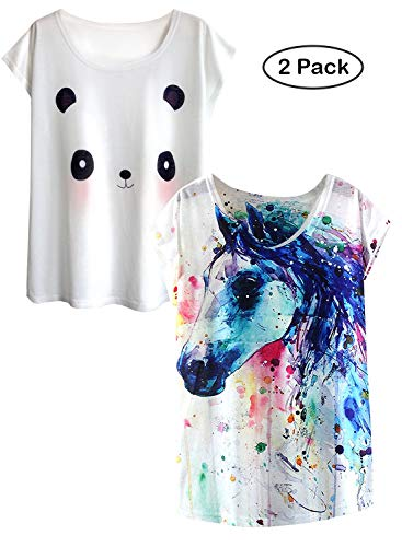 futurino Women's Dream Mysterious Horse Print Short Sleeve Tops Casual Tee Shirt (M, White and Panda) -