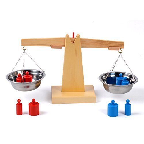YiGooood Montessori Wooden Balance Beam Math toys Weighing Scale Sensorial