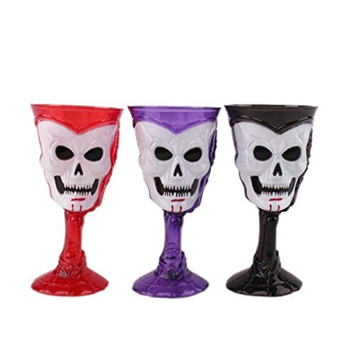 Brand new Goblet Plastic Skull Cup Bar KTV Party Cocktails Beer Wine LED Luminous Cup Drinkware Halloween Gift - -