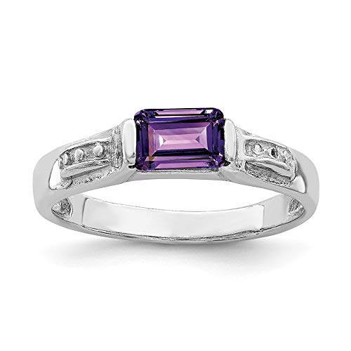 925 Sterling Silver Purple Amethyst Band Ring Size 7.00 Stone Gemstone Fine Jewelry Gifts For Women For Her ()