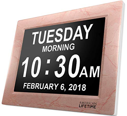 - American Lifetime [Newest Version] Day Clock - Extra Large Impaired Vision Digital Clock with Battery Backup & 5 Alarm Options (Cream Marble Color)