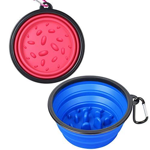 PetBonus 2-Pack Slow Feed Large Collapsible Dog Bowl (4 Cups,34oz), BPA Free Dishwasher Safe, Portable Foldable Travel…