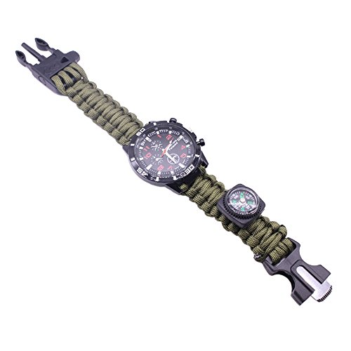 Military Mens Watches   Decorative Sub Dials Compass Paracord Rope Bracelet Watches For Men  Army Green