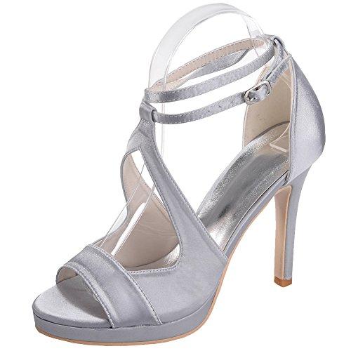 LOSLANDIFEN Womens Open Toe Ankle Straps Pumps Satin Stiletto High Heels Prom Party Wedding Shoes Silver ngYuxDuUS