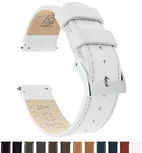 Watch Ladies Leather Select (Barton Quick Release Top Grain Leather Watch Band Strap - Choose Color & Width (18mm, 20mm Or 22mm) - White 20mm)