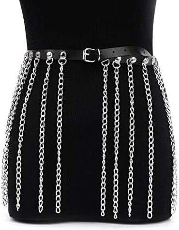 1 Victray Punk Leather Waist Chain Belt Black Body Chains Rave Fashion Body Jewelry Accessories for Women and Girls