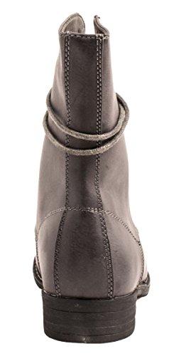 Elara Damen Stiefeletten | Bequeme Biker Boots | Lederoptik Schnürstiefeletten Grau New York