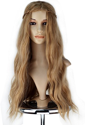 COSKING Queen Cersei Cosplay Wigs, Deluxe Halloween Long Wavy Costume Hair Wig with Braid (Gold) ()