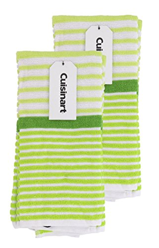 Hand Bright Green (Cuisinart 100% Cotton Terry Hand and Dish Kitchen Towels - Absorbent, Lightweight, Soft & Machine Washable- Dry Hands and Dishes - Set of 2, 16 x 26 Towels, Beach Stripe- Lime)