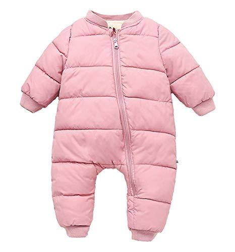 - Happy Cherry Toddler Baby Cotton Romper Long-Sleeved Zipper Closure Jumpsuit Winter Snowsuit Warm Down Romper Pink 90cm