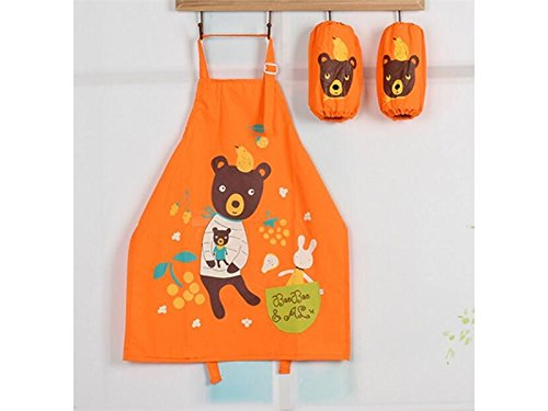 BBQ Lovely Animal Bear Printed Adjustable Belt Apron with Pocket for Kid (Orange,Size:L) for Cooking
