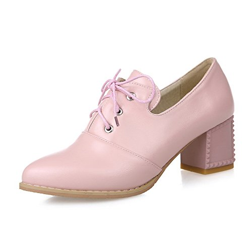 Pink WeenFashion Lace Heels Up Women's Closed Pointed Pumps Toe Solid Shoes Kitten 66PwFq