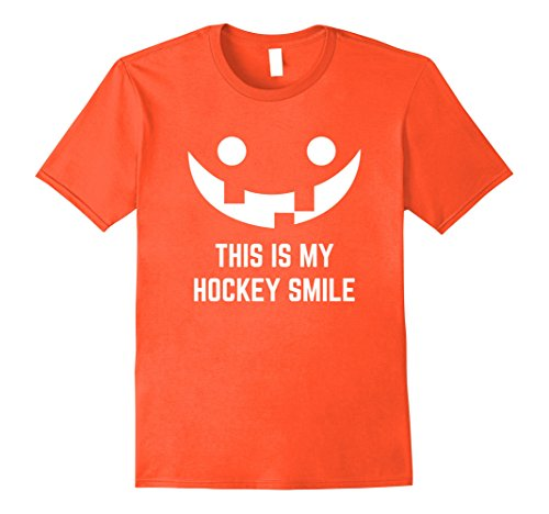 Mens This is my Hockey Smile Funny Halloween Player Fan T-Shirt 3XL Orange