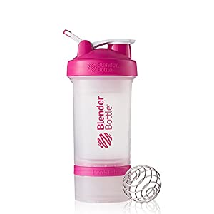 BlenderBottle ProStak System with 22-Ounce Bottle and Twist n' Lock Storage, Clear/Pink