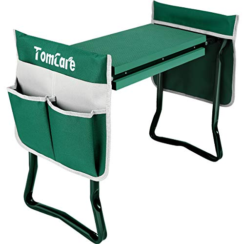TomCare Upgraded Garden Kneeler Seat Widen Soft Kneeling Pad Garden Tools Stools Garden Bench with 2 Large Tool Pouches Outdoor Foldable Sturdy Gardening Tools for Gardeners, Green (Kneeler Stool Garden)