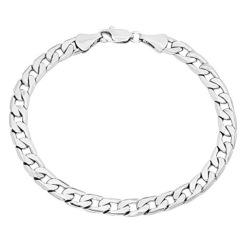 Beveled Curb Chain Bracelet - The Bling Factory 6mm Rhodium Plated Beveled Edge Cuban Curb Flat Link Chain Bracelet, 8