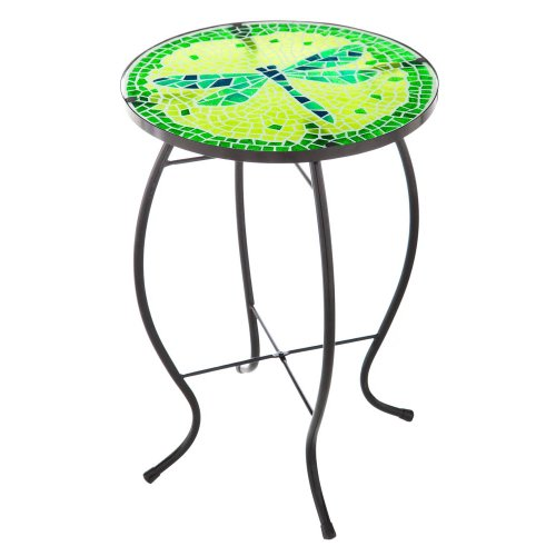 Decadent Mosaic Glass Dragonfly Side Table Mosaic Side Table