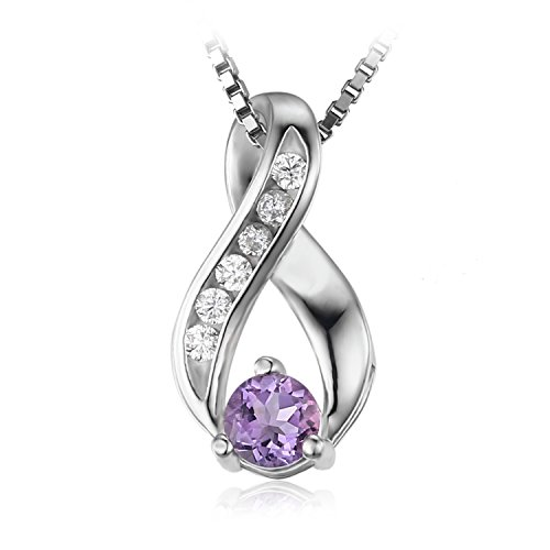 JewelryPalace 0.3ct Collier Pendentif Anniversaire Naturel Améthyste en Argent 925 Sterling 18 Pouces