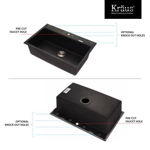 Kraus KGD-412B-KPF-2230 Kitchen Combo - 30-3/4'' Dual Mount Single Basin Granite, Black Onyx / Oil Rubbed Bronze by Kraus