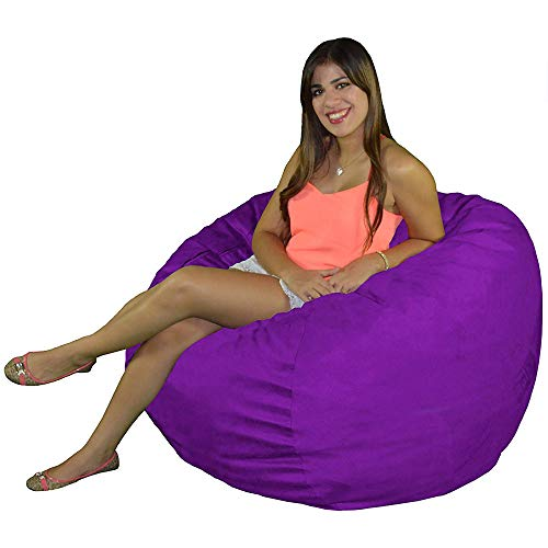 Cozy Sack Bean Bag Chair: Large 4 Foot Foam Filled Bean Bag – Large Bean Bag Chair, Protective Liner, Plush Micro Fiber Removable Cover – Purple