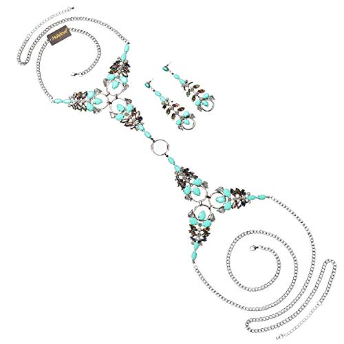 Holylove Statement Body Necklace Earrings Jewelry Set with Color Box-HLN0004E-Blue ()