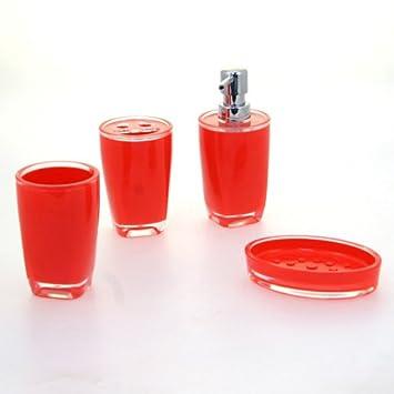 INSTANT D O 4 brillant Accessoires de salle de bain Rouge: Amazon.fr ...