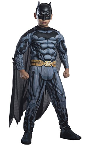 [Rubies DC Comics Deluxe Muscle-Chest Batman Costume, Child Small] (Comic Book Men Costume)